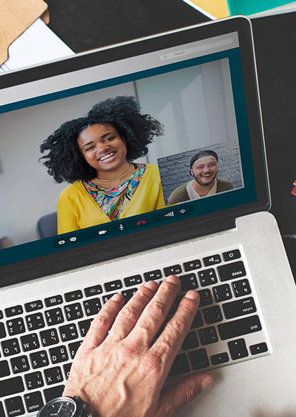 two people video conferencing